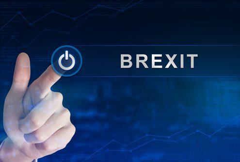 Das Bild zeigt einen Ausschalter und das Wort Brexit