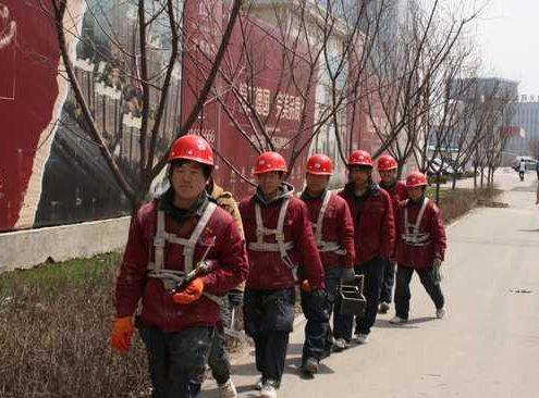 Chinesische Arbeiter auf der Baustelle in Shenyang