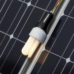 Das Bild zeigt eine Glühlampe auf einem Solarmodul