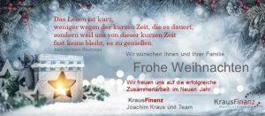 Weihnachtsgruß von Kraus Finanz aus Alzenau