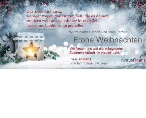Frohe Weihnachten und ein gutes neues Jahr wünscht Kraus Finanz aus Alzzenau